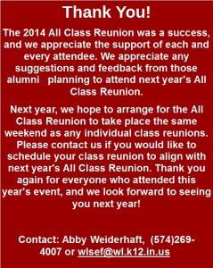 All Class Reunion Thank You