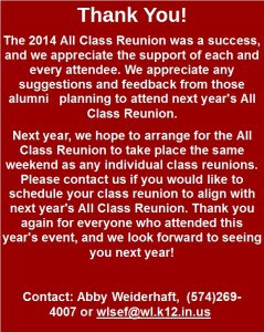 All Class Reunion Thank You